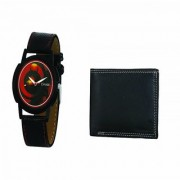Crude Analog Watch-rg674 With Black Leather Wallet