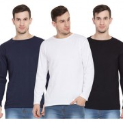 Cliths Tshirts for Men Full Sleeve Pack of 3 Cotton Round Neck Tshirts (Navy White Black)