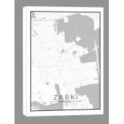 Ząbki mapa czarno biała - obraz na płótnie