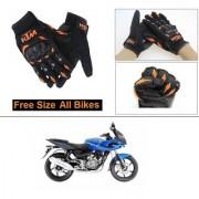 AutoStark Gloves KTM Bike Riding Gloves Orange and Black Riding Gloves Free Size For Bajaj Pulsar 220 DTS-i