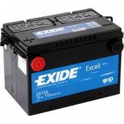 75Ah EXIDE Excell EB758 autó akkumulátor oldalsaru bal+
