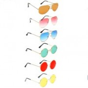 Elligator Aviator, Round Sunglasses(Orange, Pink, Blue, Green, Red, Yellow)