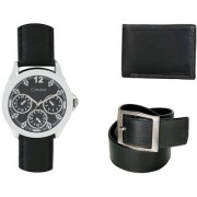 Crude Smart Combo Analog Watch-rg212 With Black Leather Belt Wallet