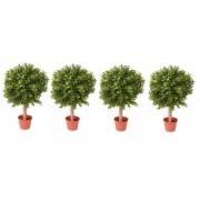 Bellatio flowers & plants 4x Buxus bol kunstplanten op stam in pot 35 cm