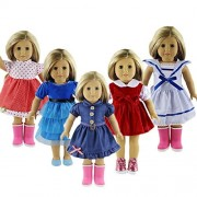 ZWSISU 5pcs Stylish Doll Outfits Clothes Set Fit 18 inch American Girl Doll,My Life Doll,Our Generation and Journey Girls Dolls