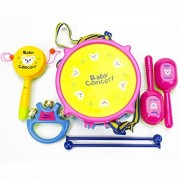 Qiyun Hand Drums 7Pcs/Set Baby Boy Girl Musical Instruments Drum Set Puzzle Educational Colorful Music Toys Kids Giftcolour:Rattle [5 pcs B-PVC Bag]
