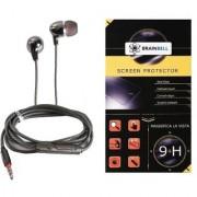 BrainBell Combo Of UBON Earphone SM-50 SOUND MASTER SERIES BIG DADDY BASS And LG STYLUS 2 Glass Screen Guard