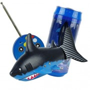 RedDhong Mini Remote Control Shark Fish Coke Can Toy Electric RC Fish Boat Shark Swim in Water for Children(Black+blue)