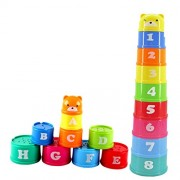 Phenovo 9pcs Plastic Stacking-up Stack Toy Rainbow Color Cups Blocks Kids Baby Numbers Letters Educational Toy Gift