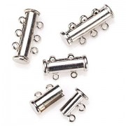Magnetverschlüsse-Set, mehrreihig, silber, 4 Stück