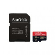 32GB microSDHC, Sandisk Extreme Pro с адаптер, Class 10 UHS-1 U3, скорост на четене 100MB/s, скорост на запис 90MB/s