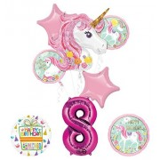 Mayflower Products Unicorn Party Supplies Believe In Unicorns 8Th Birthday Balloon Bouquet Decorations