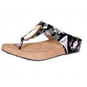 Indistar Womens Fashionable & Stylish Party Wear Casual and Formal Flats/Flip Flop for Women-Black-Size-9
