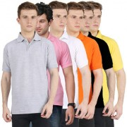 Van Galis Fashion Wear Combo Of Multicoloured Polo T-Shirts For Mens- Pack Of 6