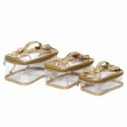 PrettyKrafts Vanity kit Golden Pack of 3 Bow Handled