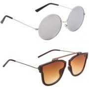 Hupshy Round, Retro Square Sunglasses(Silver, Brown)
