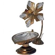 Silverz Silver Flower Shaped Golden Silver Diya