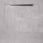 Cadita de dus slim AquaNit Slope Beton, 90x90 cm, Gri + sifon din inox