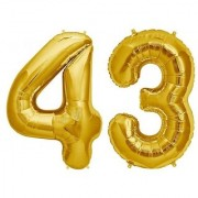 De-Ultimate Solid Golden Color 2 Digit Number (43) 3d Foil Balloon for Birthday Celebration Anniversary Parties