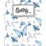 """Bullet Journal Dot Grid, Quarterly Guided, Blue Butterfly Effect, Composition Notebook, 8"""" X 10,"""" 90 Page: Small Journal Notebook Diary for Adults and, Paperback"""