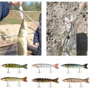 Lixada 13cm/19g Lifelike 6 Jointed Sections Trout Swimbait Fishing Lure Hard Bait Fish Hook Fishing Tackle