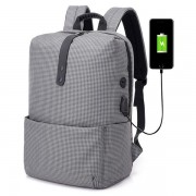 21L USB Backpack Stripe Business Bag 15.6 Inch Laptop Bag Anti Theft Travel Waterproof Polyester Storage Bag