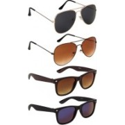 SO SHADES OF STYLE Wayfarer, Aviator Sunglasses(Black, Blue, Brown)