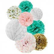Wrapables Set of 8 Tissue Honeycomb Ball and Pom Pom Party Decorations for Weddings Birthday Parties Baby Showers and Nursery Decor Aqua/ Light Pink/ Gold/ White
