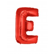 Vegaoo Bokstaven E - Aluminiumballong i rött 102 cm One-size