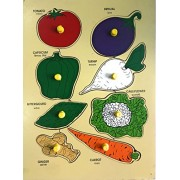 FunBlast™ Wooden Colorful Learning Board Fruits & Vegetables Tray with Picture with Knobs, Multi Color (Vegetables)