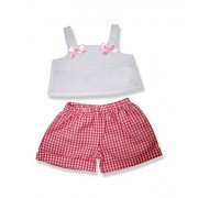 "Pink Gingham Shorts with White Top - 6080 Fits 15"" - 16"" bears, includes Build a Bear, The Bear Mill"