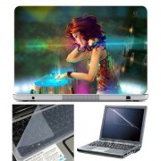 FineArts Laptop Skin Girl DJ With Screen Guard and Key Protector - Size 15.6 inch