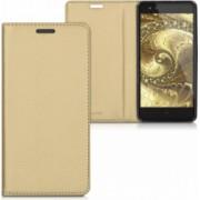 Husa BQ Aquaris X5 Plus Piele ecologica Gold 37532.21