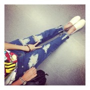 Ankle-Length Denim Jeans Personality Ripped Holes Design Haren Jeans For Women Blue
