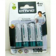 ENVIE 4 pcs RECHARGEABLE AA 1000 MAH Ni-CD BATTERY/CELL ......