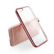 Калъф за Iphone 6/6s прозрачен гръб с розова лайсна