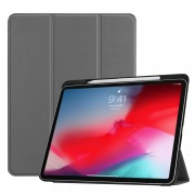Tri-fold Leather Stand Smart Shell with Pen Slot for iPad Pro 11-inch (2018) - Grey