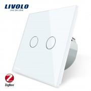 Intrerupator dublu cu touch Livolo din sticla - protocol ZigBee, alb