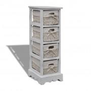 vidaXL White Wooden Storage Rack 4 Weaving Baskets