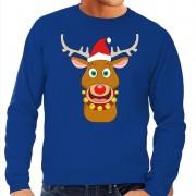 Shoppartners Foute kersttrui rendier Rudolf met rode kerstmuts blauw heren