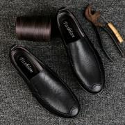 Mode ronde hoofd reliëf decoratieve comfortabele lichtgewicht vouwen weerstand lederen schoenen erwten schoenen voor mannen (kleur: zwart grootte: 37)
