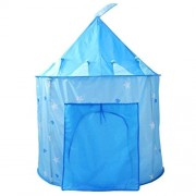 Babytintin Princess/Prince Kids Play Tent Indoor Outdoor - for Boys Girls Baby Toddler Playhouse House Castle Foldable Tents with Carry Case Castle Tent House (Blue)