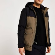 River Island Mens Selected Homme Green blocked padded jacket (S)