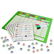"""NEW Behavior Chores Chart For Kids / Toddlers - Rewards Responsibility - Includes 15 Chores, 192 Custom Round Stars, 4 Dry Erase Markers - All Magnetic Backing Board 16""""x12"""" - Daily Calendar"""