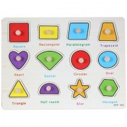 SHRIBOSSJI Wooden Geometric Puzzle and Educational Toy For Child (Multicolor)
