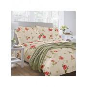 Lenjerie de pat, Dormisete, 2 persoane, renforce, imprimata, Roses 04, 220 x 230 cm, bumbac, Crem/Rosu