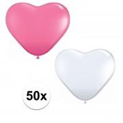 Merkloos 50x bruiloft ballonnen wit / roze hartjes versiering - Ballonnen