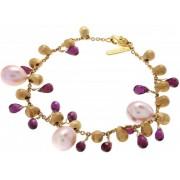 Verlinden Juwelier - Schakelarmband - Geel gouden - 18 karaat - Parels & Granaat - Atelier Marco Bicigo - 14 gr goud