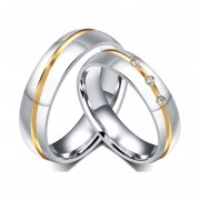 Anillo De Diamantes Par De Acero De Titanio De San Valentín De Compromiso Para Hombres-Dorado