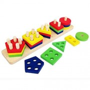 MoTrent Wooden Color Shape Sorter Colorful Geometric Board Sorting Stack Puzzle Toys for Kids